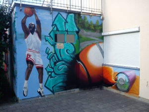Graffitiauftrag Basketballer JuZ Arena