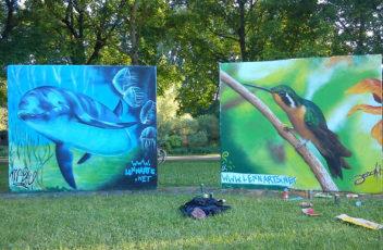 Graffiti Delphin und Kolibri