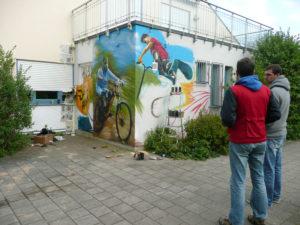Graffitiauftrag Wand in Bearbeitung
