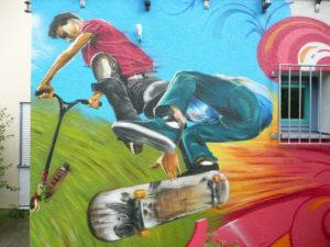 Graffitiauftrag Scooter und Skater
