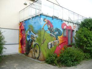 Graffitiauftrag Sportler Eckansicht