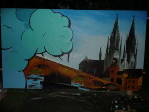Graffitiauftrag Spraybar Dom und Steinerne Brücke