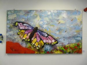 Graffiti Leinwand Schmetterling im Mohnfeld