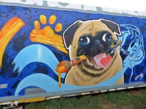 Graffitiauftrag Mops Hunde Graffiti