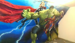 Graffitiauftrag Avengers von links