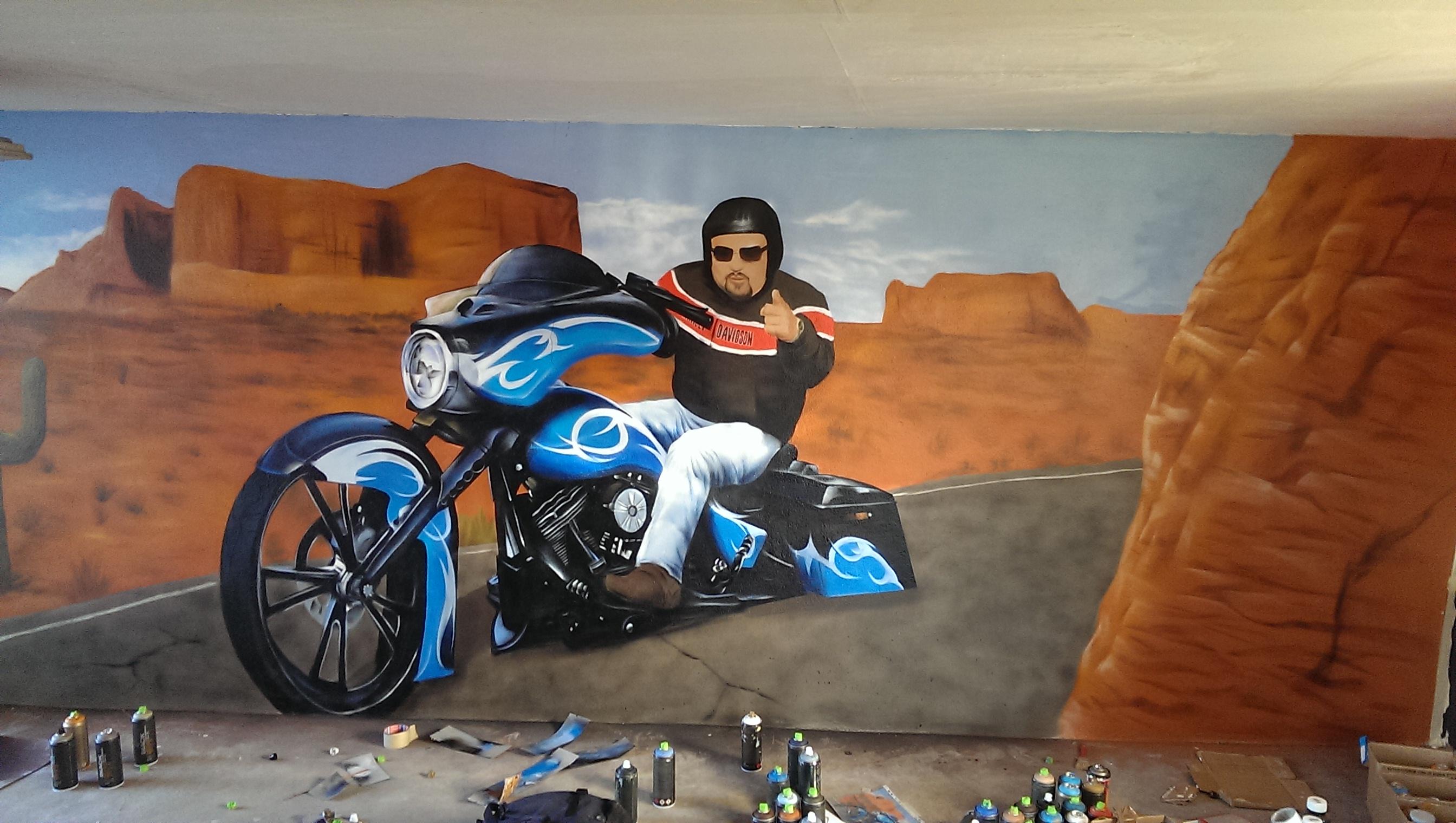 Harley davidson graffiti garage