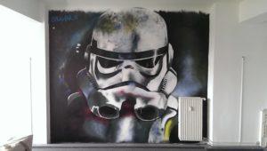 Graffitiauftrag Innenraum Büro Stormtrooper
