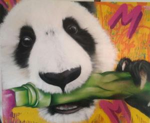 Graffiti Leinwand Panda kaut Marker