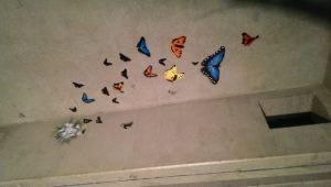 Graffitiauftrag Streetart Stencil Schmetterlinge 1