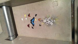 Graffitiauftrag Streetart Stencil Schmetterlinge 2
