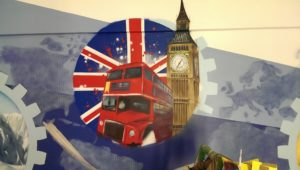 Graffitiauftrag FH Wedel London Motiv Innenraumgestaltung Raumgestaltung Graffitikünstler Lennart