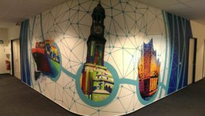 Graffitiauftrag Bürowand Innenwand gesamt