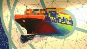 Graffitiauftrag Bürowand Kontainerschiff Detail