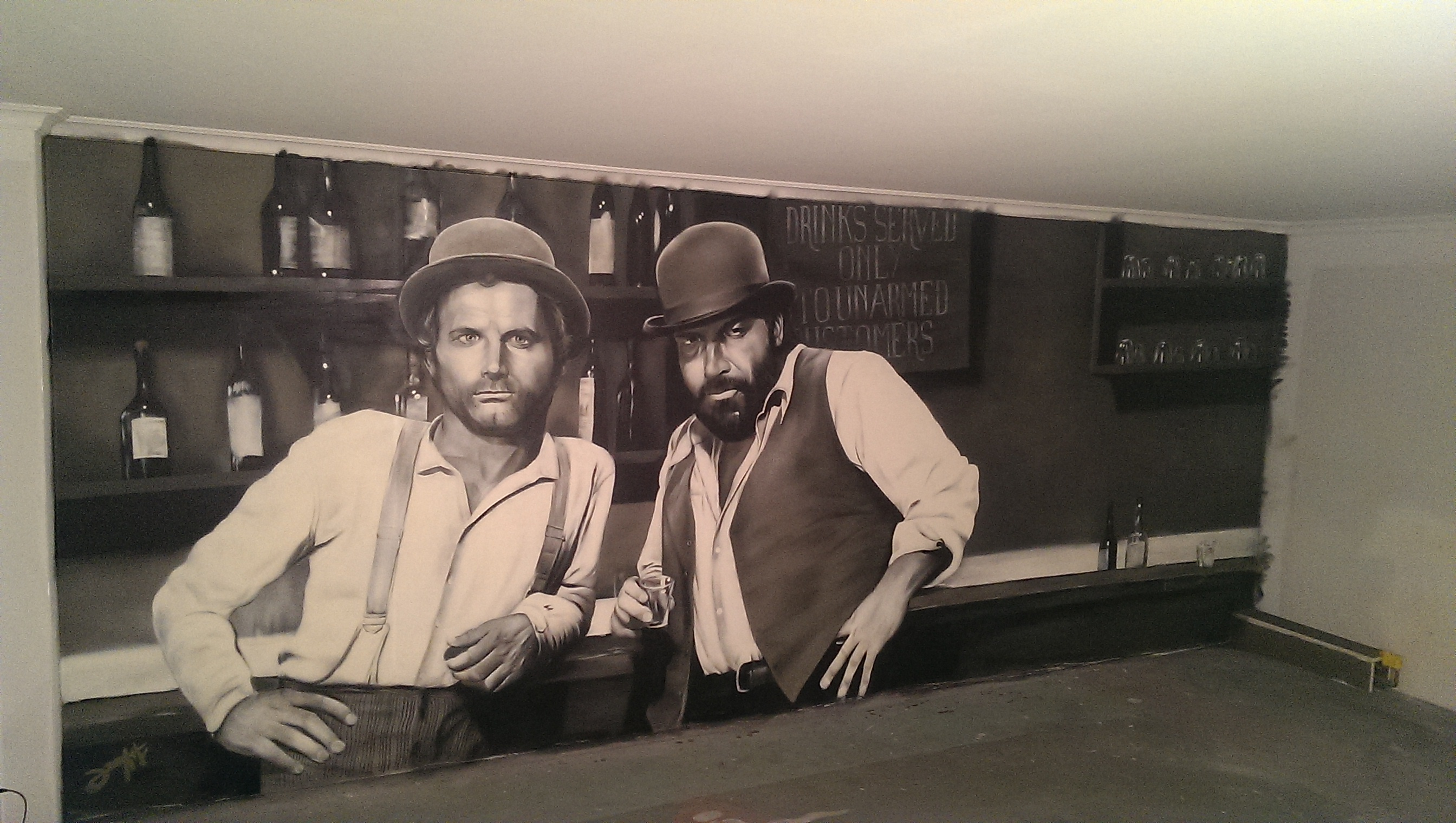 Graffitiauftrag Partykeller Bud Spencer Terrance Hill