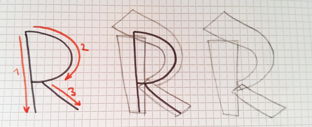 Graffiti Buchstaben zeichen Schritt für Schritt 1