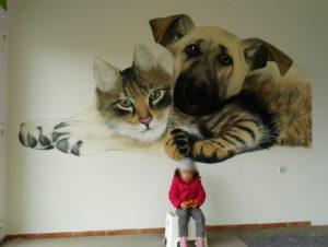 Graffiti Auftrag Innenraum Hund und Katze