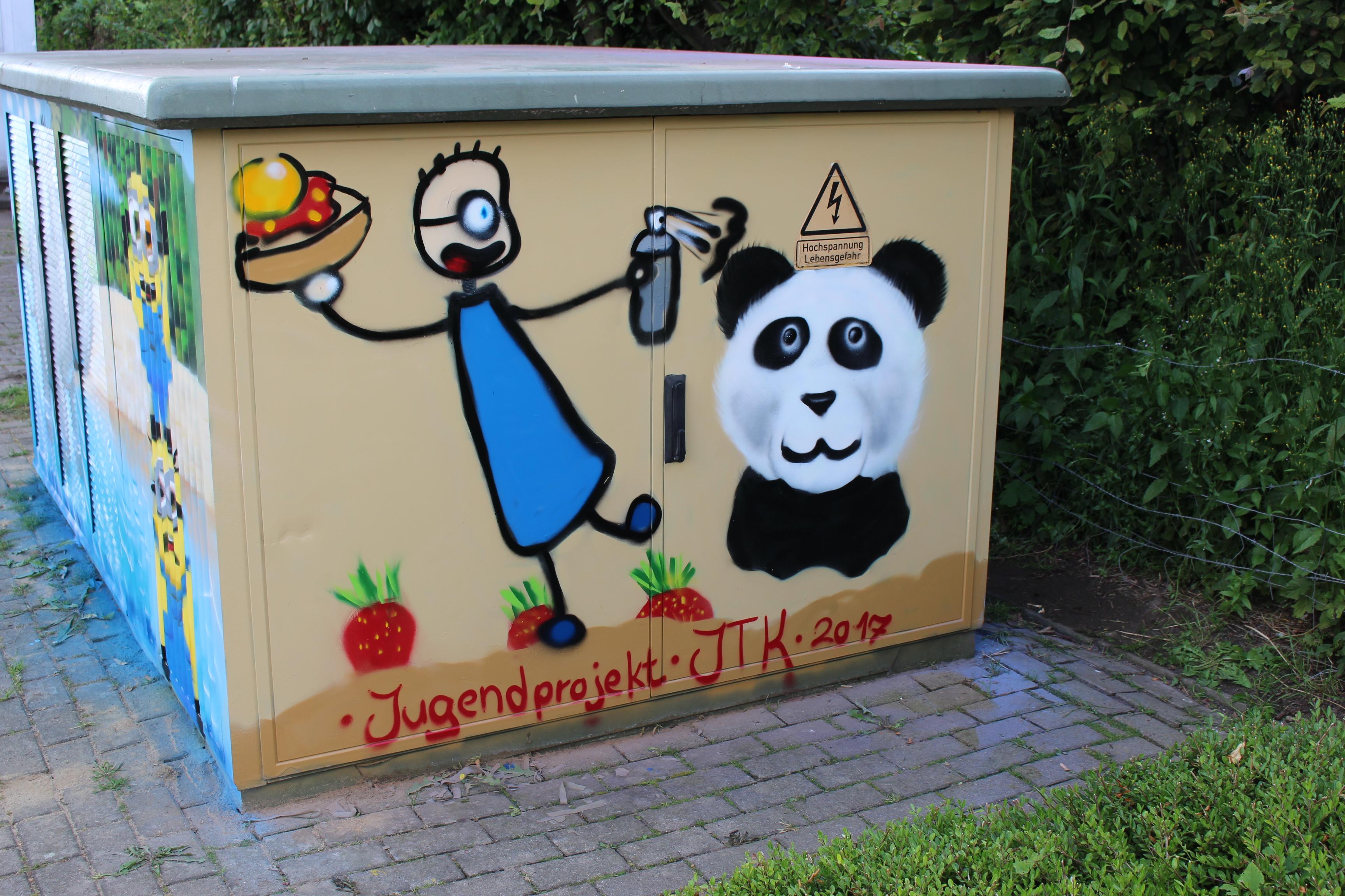 Graffitiprojekt Kröppelshagen Trafostation Seite3 Tom Erdbeermarmeladenbrot mit Honig Panda