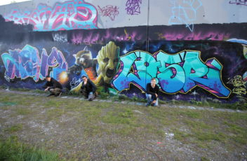 Graffitiworkshop Fortgeschrittene Hall Gruppenfoto