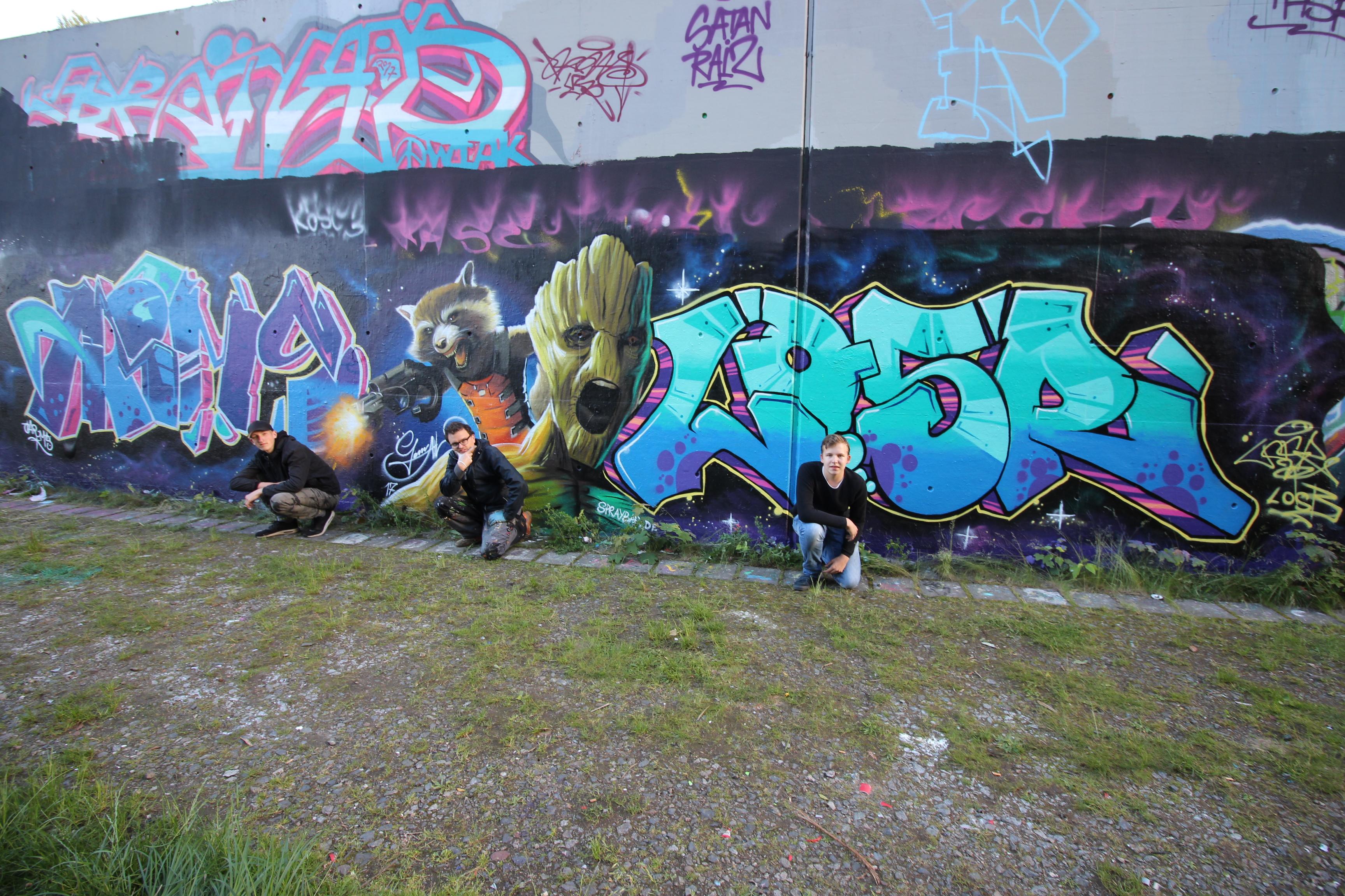 Graffitiworkshop Fortgeschrittene Hall Gruppenfoto