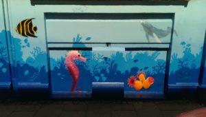Graffiti Fassadengestaltung Unterwasser Korallen Fische Seepferdchen